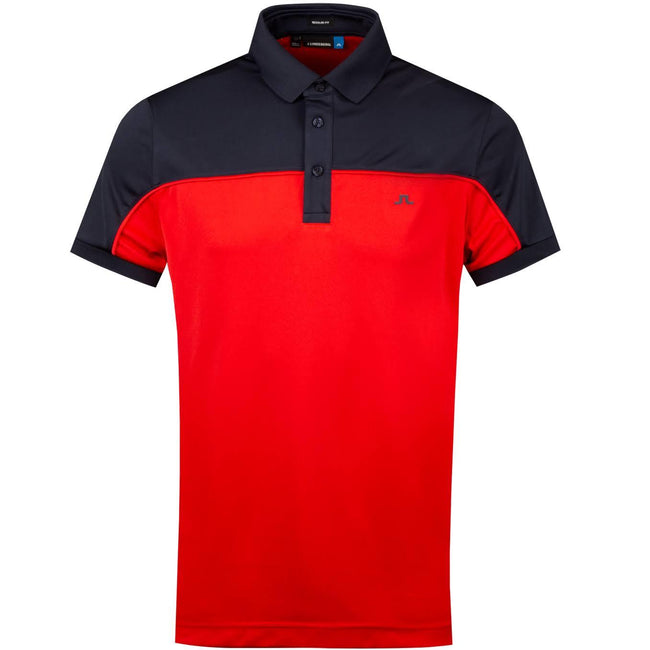 J. Lindeberg Mateo Regular Fit TX Coolmax Polo Shirt in Deep Red