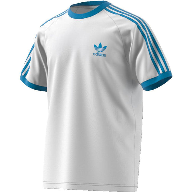 adidas DZ4586 3- Stripes T-Shirt in White/ Shock Cyan T-Shirts adidas