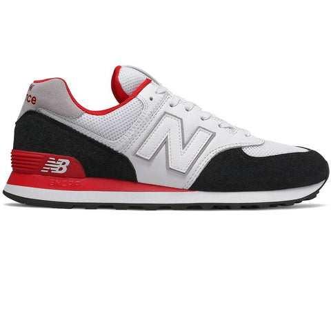 New Balance 574 Trainers in White/ Black/ Red Trainers New Balance