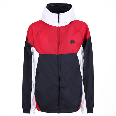PRETTY GREEN LIGHTWEIGHT HOODED NYLON JACKET IN RED / NAVY Coats & Jackets Pretty Green