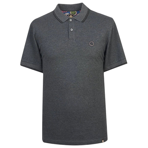Pretty Green Tipped Pique Polo Shirt in Dark Grey Polo Shirts Edwards Menswear