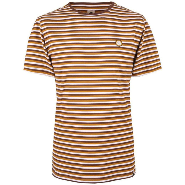 Pretty Green Feeder Stripe T-Shirt in Brown T-Shirts Pretty Green