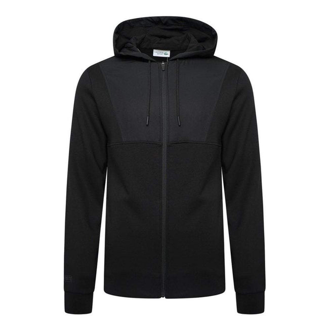 Lacoste Sport SH3517-C31 Contrast Panel Hooded Full Zip Sweatshirt in Black Hoodies Lacoste