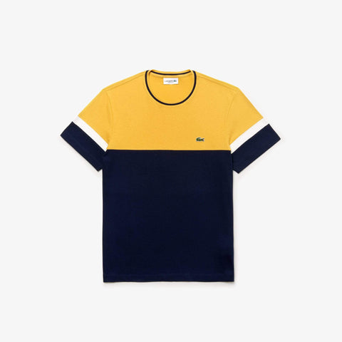 Lacoste TH4238-7LJ Crew Neck T-Shirt in Navy Blue / Yellow / White T-Shirts Lacoste