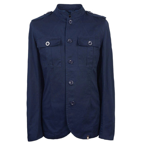 Pretty Green Cotton Button Up Jacket in Navy Coats & Jackets Pretty Green