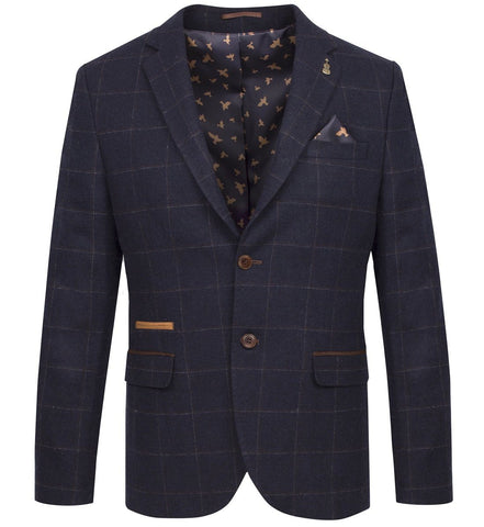 FJK.1001 Navy Windowpane Check Suit Jacket Suit Jacket Fratelli Uniti