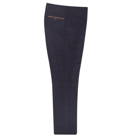 FTR.1001 Navy Windowpane Check Trousers Trousers Fratelli Uniti