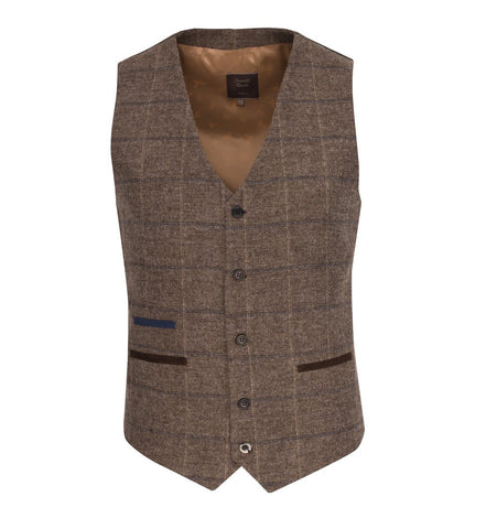 FWC.1001 Tan Windowpane Check Waistcoat Waistcoat Fratelli Uniti