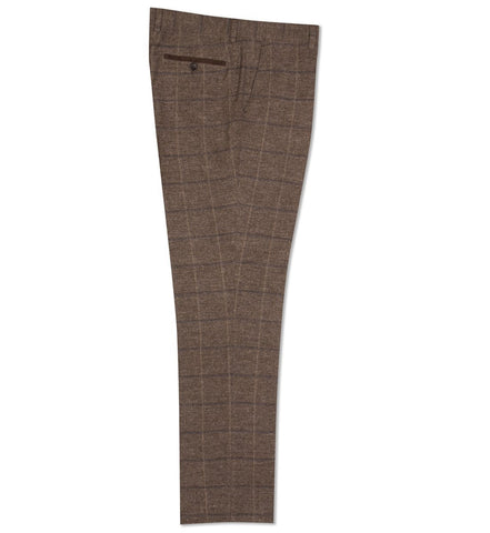 FTR.1001 Tan Windowpane Check Trousers Trousers Fratelli Uniti