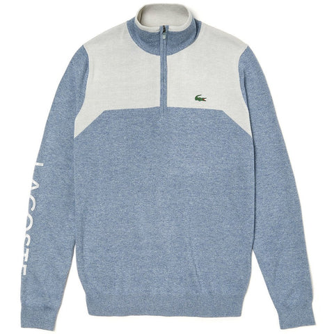 AH3547-6QO Technical 1/4 Zip Knit Sweater in Light Blue / Grey Jumpers Lacoste Sport