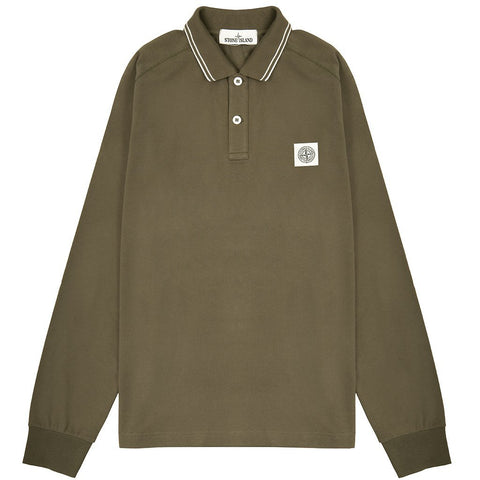 Long Sleeved Polo Shirt in Khaki Polo Shirts Stone Island