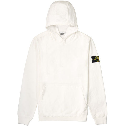 Old Dye Treatment Hooded Sweatshirt in White Hoodies Stone Island