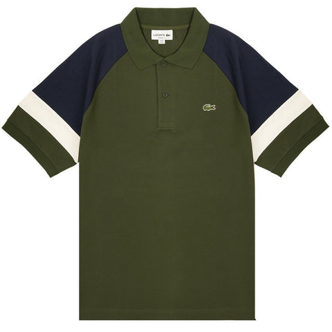 PH4257-7DH Short Sleeved Block Colour Polo Shirt in Green / White / Blue Polo Shirts Lacoste