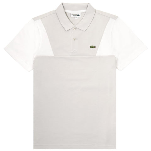 YH3463-DWH Contrast Sleeves Ultra Light Cotton Polo Shirt in Grey / White Polo Shirts Lacoste Sport