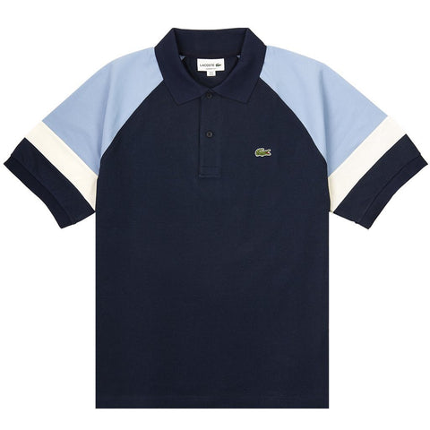PH4257-88G Short Sleeved Block Colour Polo Shirt in Navy / Sky / White Polo Shirts Lacoste