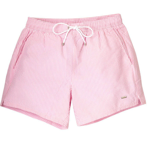 Velvetfish Striped Swim Shorts in Pink and White Swimwear BOSS