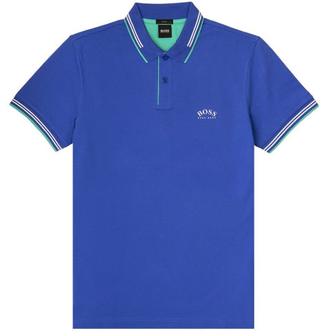 Paul Curved Slim Fit Polo Shirt in Blue Polo Shirts BOSS