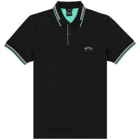 Paul Curved Slim Fit Polo Shirt in Black Polo Shirts BOSS