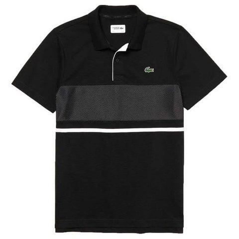 YH3452-HJS Mesh Panel Ultra Light Cotton Polo Shirt in Black / White Polo Shirts Lacoste Sport