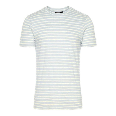 Coma Clean Striped Linen T-Shirt in Ice Flow J. Lindeberg