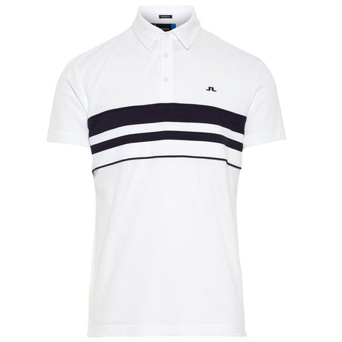 M Leo Reg Lux Pique Polo Shirt in White Polo Shirts J. Lindeberg