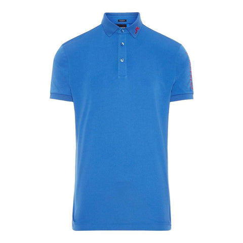 M Tour Tech Slim Fit TX Jersey Polo Shirt in Work Blue Polo Shirts J. Lindeberg