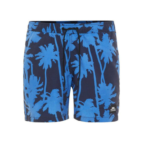 Banks Pattern Swim Shorts in Work Blue Swimwear J. Lindeberg
