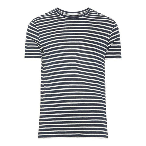 Coma Clean Striped Linen T-Shirt in JL Navy T-Shirts J. Lindeberg