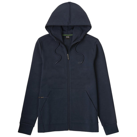 Saggy X Zip Through Hooded Sweatshirt in Navy Hoodies BOSS