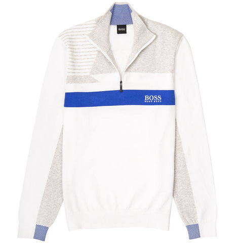 Athleisure Zelchior Pro 1/4 Zip Jumper in White Jumpers BOSS