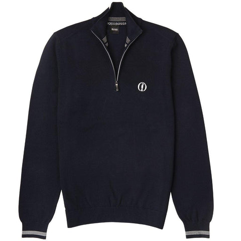 Zerom British Open Water-repellent 1/4 Zip Jumper in Navy Jumpers BOSS