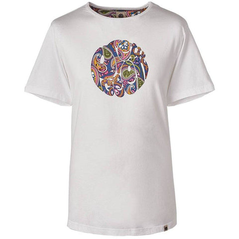 Paisley Print Logo T-Shirt in White T-Shirts Pretty Green