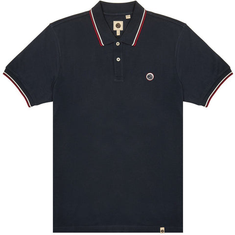 Tipped Pique Polo in Navy Polo Shirts Pretty Green
