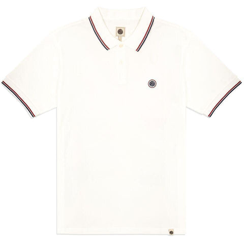 Tipped Pique Polo in White Polo Shirts Pretty Green