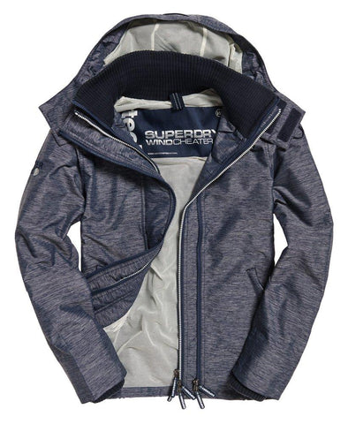 Superdry Tech Hood Pop Zip Windcheater in Navy Mega Grit / Ecru Coats & Jackets Superdry