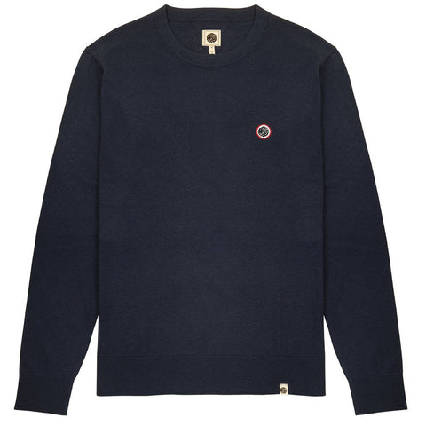 Crew Neck Knitted Jumper in Navy Jumpers Pretty Green