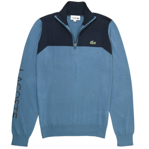 AH3547-A4Y Technical 1/4 Zip Knit Sweater in Blue / Navy Blue Jumpers Lacoste Sport