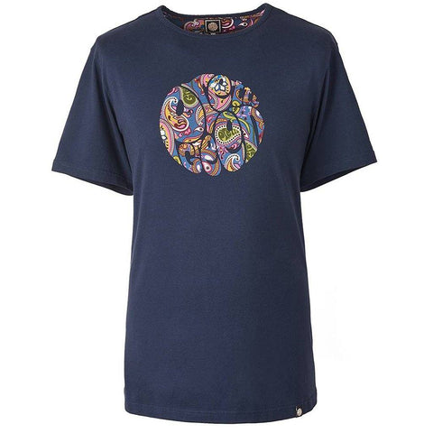 Paisley Print Logo T-Shirt in Navy T-Shirts Pretty Green