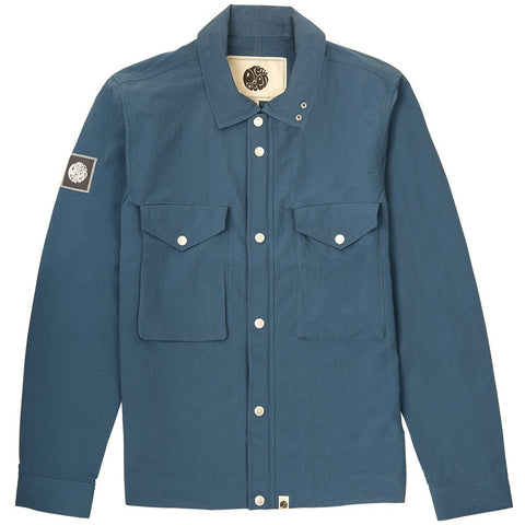 Zip Through Nylon Overshirt in Blue shirts Pretty Green