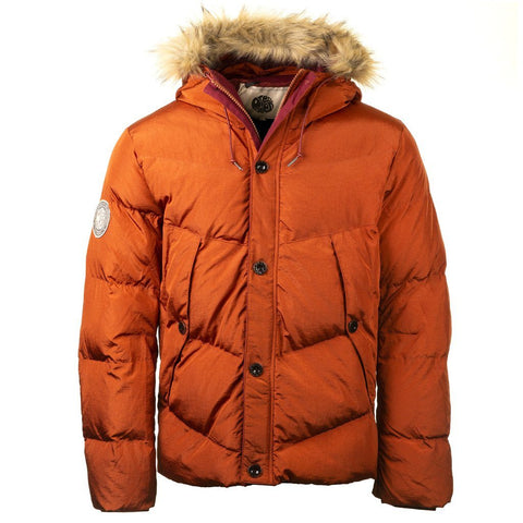 Quilted Hooded Jacket in Orange Coats & Jackets Pretty Green