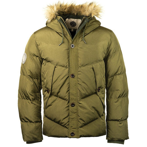 Quilted Hooded Jacket in Khaki Coats & Jackets Pretty Green