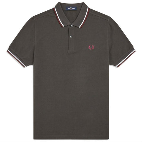 Twin Tipped Polo Shirt in Anthracite/ White/ Mahogany Polo Shirts Fred Perry