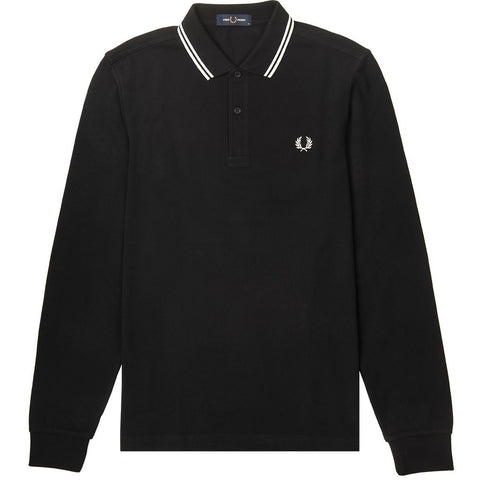 Long Sleeved Twin Tipped Polo Shirt in Black Polo Shirts Fred Perry