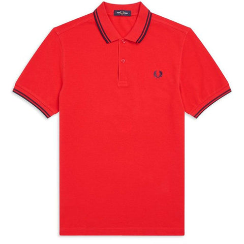 M3600 Twin Tipped Polo Shirt in Hibiscus Pink / Carbon Blue Polo Shirts Fred Perry