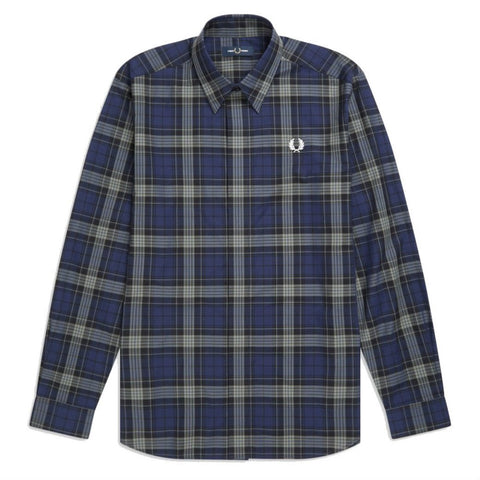 M7556-266 Bold Tartan Shirt in Carbon Blue Shirts Fred Perry
