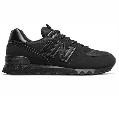 574 Leather Trainers in Black Trainers New Balance
