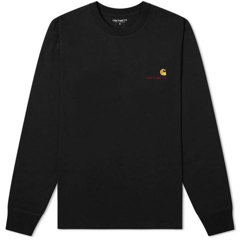 Long Sleeved American Script T-Shirt in Black Long Sleeve Tops Carhartt