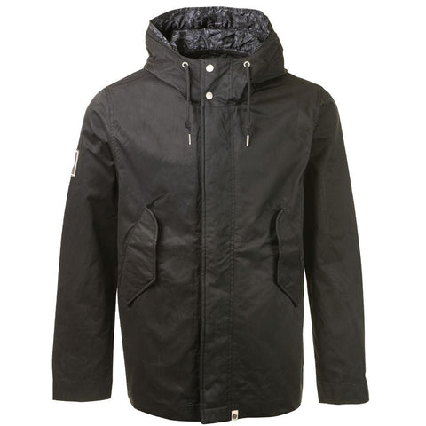 Cotton Zip UP Hooded Jacket In Black Coats & Jackets Pretty Green