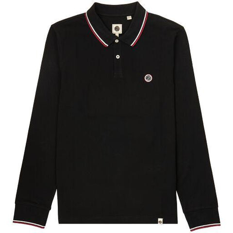 Long Sleeved Pique Polo in Black Polo Shirts Pretty Green