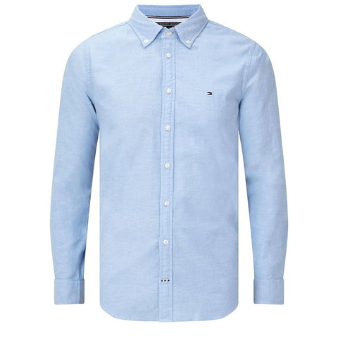 Oxford Slim Fit Stretch Cotton Shirt in Blue Shirts Tommy Hilfiger